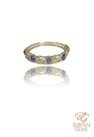 TANZANITE ROSECUT DIAMOND BANGLE BRACELET
