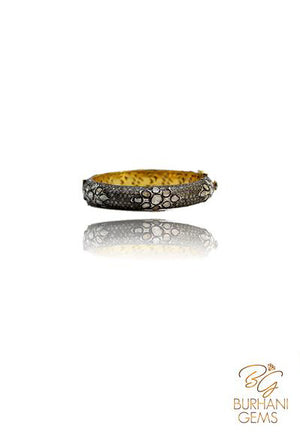 DESIGNER ROSE CUT PAVE DIAMOND BANGLE BRACELET