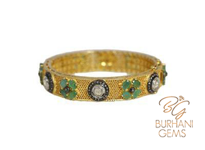 ROSECUT DIAMOND EMERALD BANGLE BRACELET