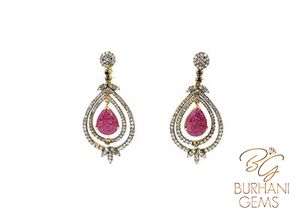 EXCLUSIVE DESIGNER RUBY AND DIAMOND EARRINGS