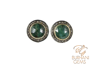 NATURAL EMERALD STUD VICTORIAN EARRINGS WITH ROSE CUT DIAMONDS