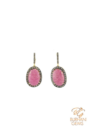REGAL RUBY AND ROSECUT DIAMOND EARRINGS
