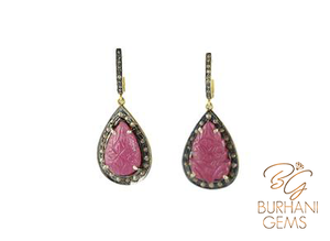 CARVED RUBY ROSECUT DIAMOND EARRINGS