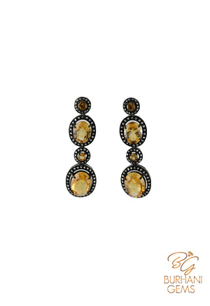 CITRINE  ROSECUT DIAMOND EARRINGS