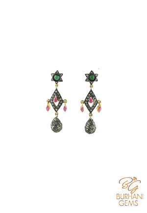 STAR RUBY EMERALD ROSECUT DIAMOND EARRINGS