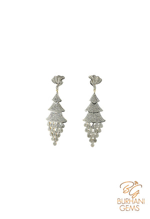 CHRISTMAS TREE PAVE ROSE CUT DIAMOND EARRINGS
