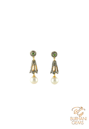 ROYAL ROSECUT DIAMOND EARRINGS WITH PEARL HANGINGS