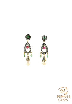 RUBY EMERALD ROSECUT DIAMOND EARRINGS