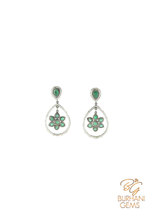 MUGHAL STYLE NATURAL EMERALD ROSE-CUT DIAMOND EARRINGS