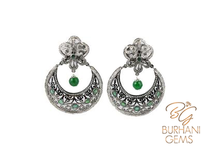 EMERALD AND ROSE CUT DIAMOND EARRINGS