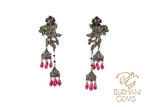 ANTIQUE GOLD AND SILVER RUBY SAPPHIRE EARRINGS
