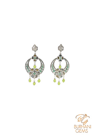 NATURAL EMERALD ROSE CUT DIAMOND MUGHAL EARRINGS