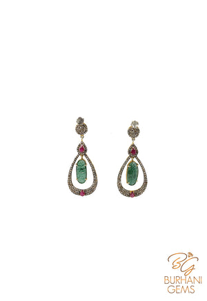 RUBY AND EMERALD DROP SHAPED ROSECUT DIAMOND EARRINGS