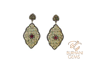VICTORIAN RUBY AND EMERALD ROSECUT DIAMOND EARRINGS