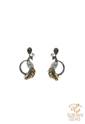 PEACOCK CITRINE ROSECUT DIAMOND EARRINGS