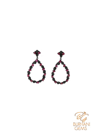 VICTORIAN DROP RUBY ROSECUT DIAMOND EARRING