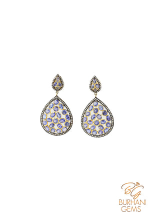 TANZANITE PAVE ROSE CUT DIAMOND EARRINGS