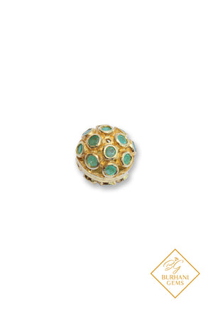 GOLD BALL PAVE EMERALD BEAD