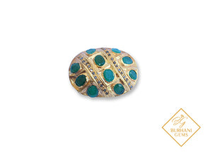 GOLD EMERALD PAVE DIAMOND BEAD