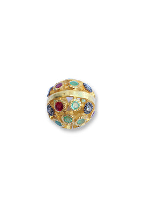 GOLD BALL PAVE RUBY  EMERALD BEAD