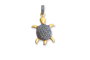 ROSE CUT PAVE DIAMOND TURTLE CHARMS