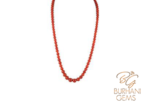 ITALIAN BLOOD CORAL GRADED NECKLACE, SALMON CORAL