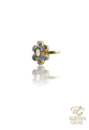 KYANITE FLORAL ROSE-CUT DIAMOND RING
