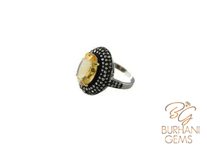 CITRINE JEWELED ROSE-CUT DIAMOND RING