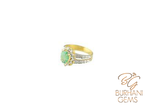DOUBLE STRAPPED EMERALD AND DIAMOND RING