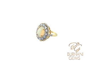 NATURAL OPAL SAPPHIRE RING WITH ROSE-CUT DIAMONDS