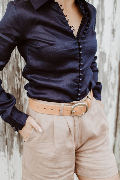 The Amalfi Blouse - Navy