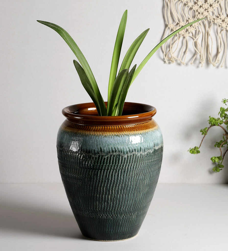 Ceramic Multi-Colour Abstract Glaze Art Big Floor Planter Pot - Blue and Brown