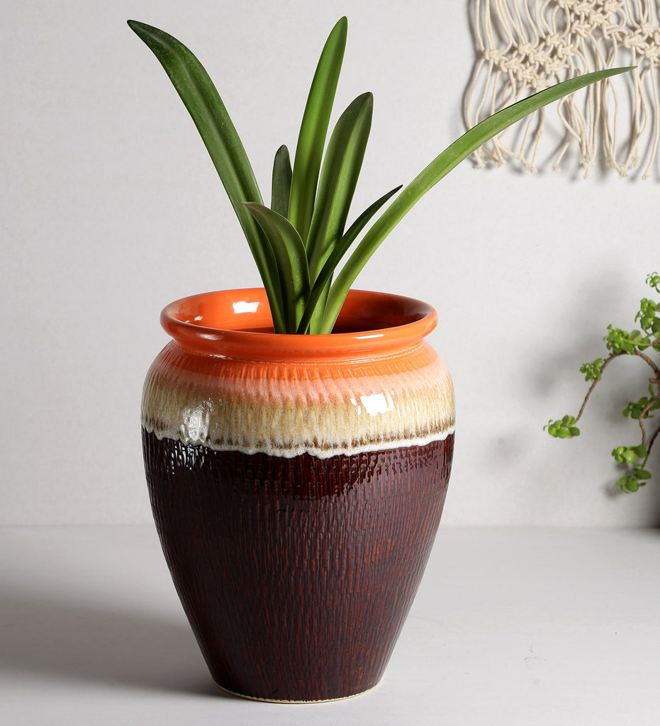 Ceramic Multi-Colour Abstract Glaze Art Big Floor Planter Pot - Brown and Orange