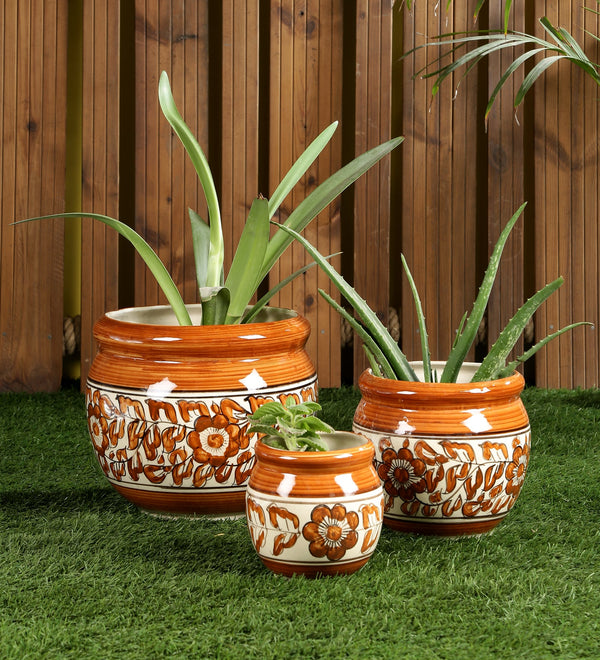 Ceramic Red set of 3 Big Floor Planters Pots
