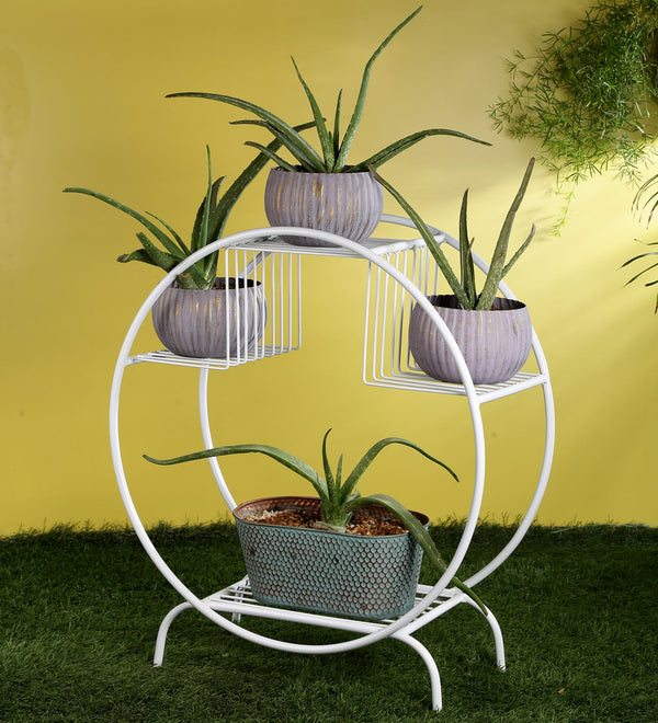 White Round Metal Planter Stand