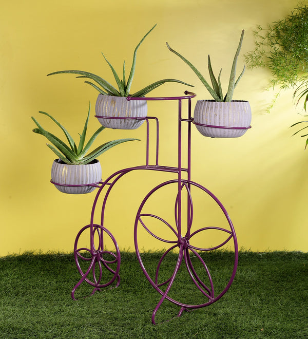 Purple Cycle Metal Planter Stand