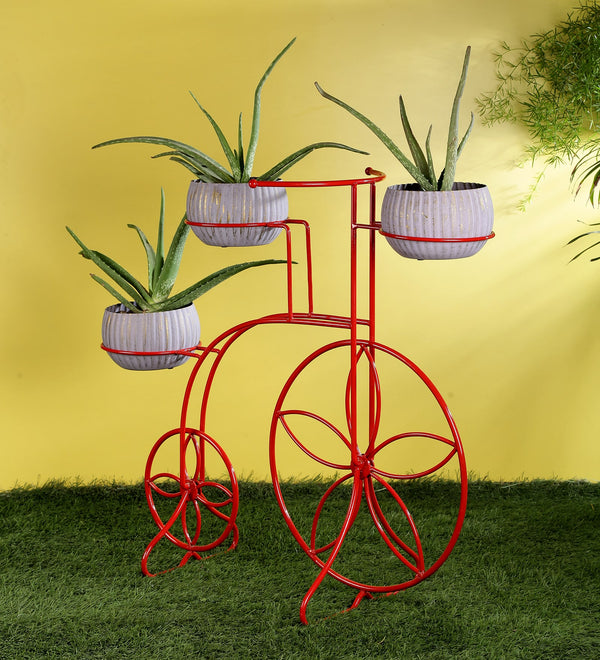 Red Cycle Metal Planter Stand