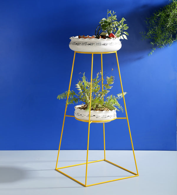 Yellow Tall Metal Planter Stand