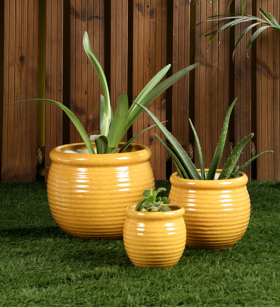 Ceramic Yellow Plain set of 3 Big Floor Planters Pots