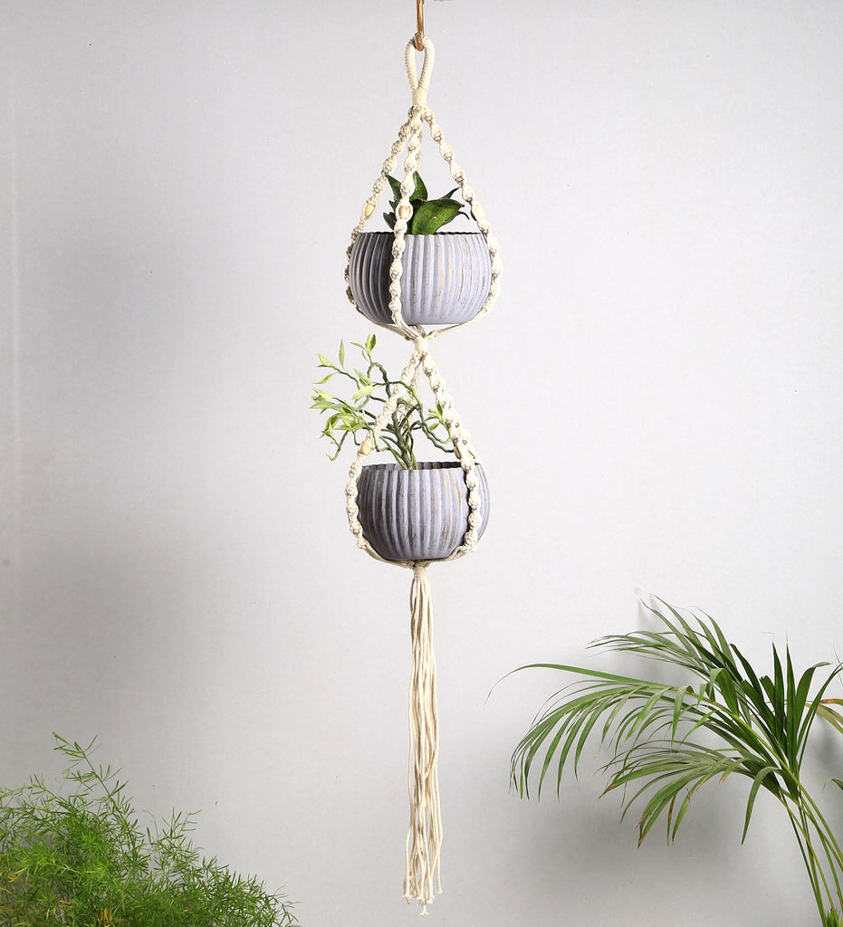 Macrame Hand Knitted Double Plant Hanger