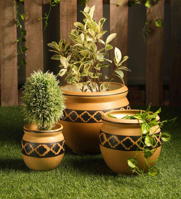 Ceramic Brown set of 3 pots with diamond print