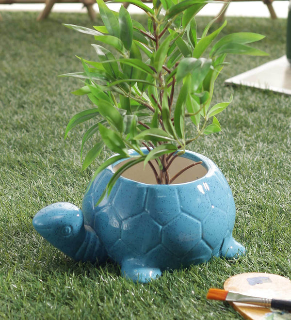 Ceramic Planter Pot Plant Container Decorative Blue Turtle