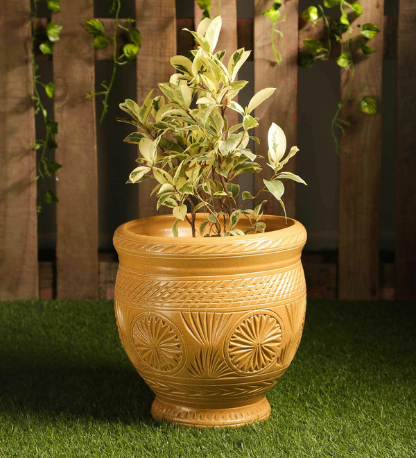 Ceramic Brown Matt Big Floor Planter Pot with Carving