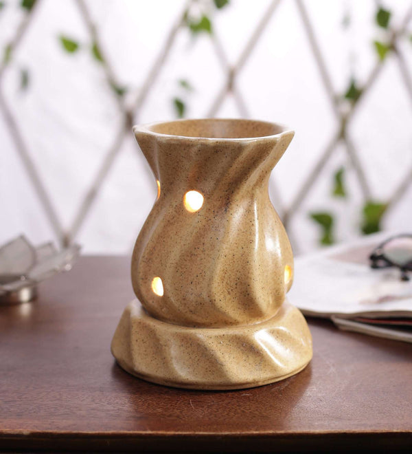 Beige Ceramic Burner Twisted  with Holes Large Diffuser