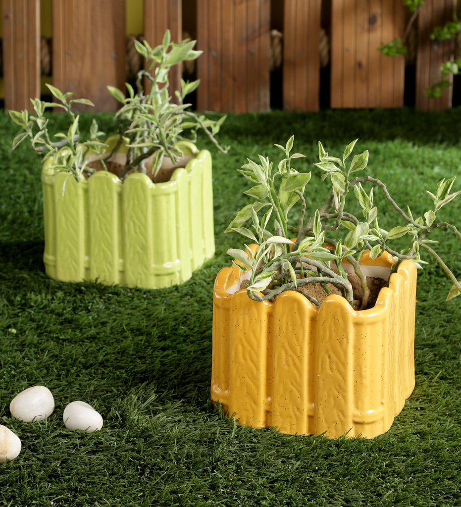 Set of 2 Ceramic Green & Yellow Fence Shape Pots