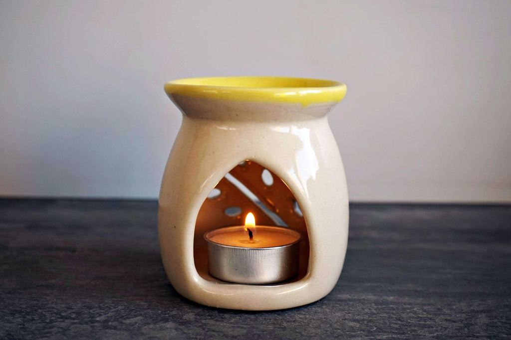 Ceramic White and Yellow Small tree Tea light Diffuser