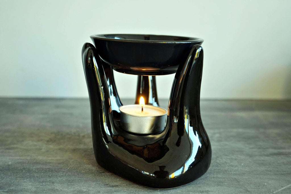 Ceramic Black Hand Tea light Diffuser