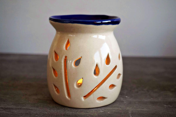 Ceramic White and Blue Small tree Tea light Diffuser