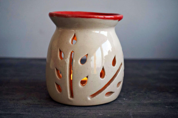 Ceramic White and Red Small tree Tea light Diffuser