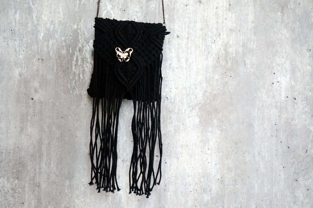 Handknitted Macrame Handbags made by rural women artisans in a village near Meerut